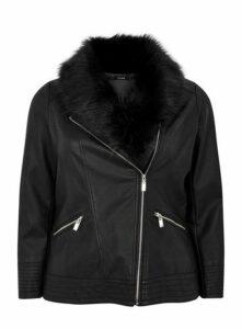 Black Faux Fur Trim Biker Jacket, Black