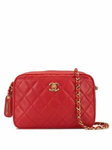 Chanel Pre-Owned diamond quilted chain shoulder bag - Red