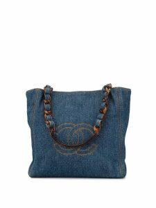 Chanel Pre-Owned 2000 denim logo tote bag - Blue