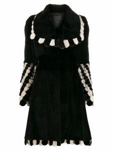 Fendi Pre-Owned 2000s scallop trim coat - Black