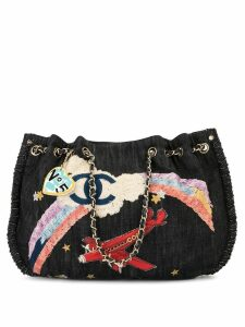 Chanel Pre-Owned Jumbo XL rainbow embroidery tote - Blue