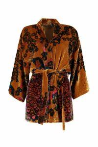 Mes Demoiselles Panoptes Printed Velvet Kimono Jacket