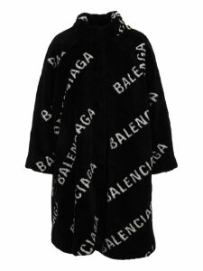 Balenciaga All-over-logo Oversized Coat