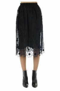 Moncler Genius Simone Rocha Black Silk And Tulle Skirt
