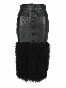 Saint Laurent Leather Pencil Skirt With Faux Fur Detail