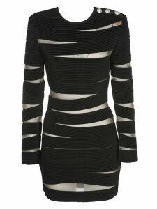 Balmain Cut-out Stripe Dress