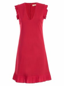 TwinSet Dress W/s V Neck In Front And Behind W/plisse