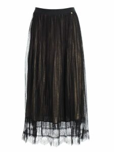 TwinSet Skirt Plisse Long W/gold On Bottom