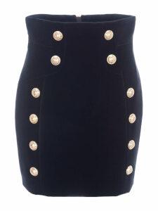 Balmain Buttoned Velvet Skirt