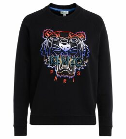 Kenzo Tigre Black Sweatshirt With Multicolored Front Embroidery And Contrasting Multicolored Logo