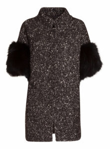 Bully Coat With Fur Sleeves In Black