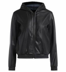 Michael Kors Sweatshirt In Black Vegan Leather With Adjustable Hood