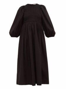 Rhode - Andrea Shirred Cotton Midi Dress - Womens - Black