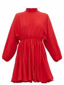 Rhode - Caroline Godet Insert Crepe Mini Dress - Womens - Red