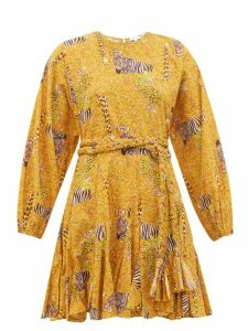 Rhode - Ella Safari Print Cotton Voile Mini Dress - Womens - Yellow Multi
