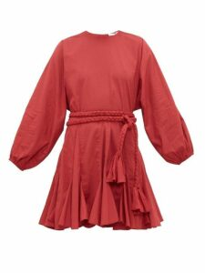 Rhode - Ella Godet Skirt Cotton Voile Mini Dress - Womens - Burgundy