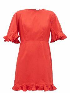 Rhode - Hailey Ruffled Cotton Voile Mini Dress - Womens - Red