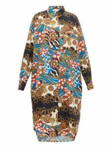 Rhode - Daisy Scarf Print Cotton Poplin Shirtdress - Womens - Cream Multi