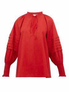 Rhode - Sage Balloon Sleeve Cotton Blouse - Womens - Burgundy