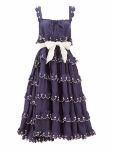 Innika Choo - Iva Biigdres Tiered Embroidered Cotton Midi Dress - Womens - Navy