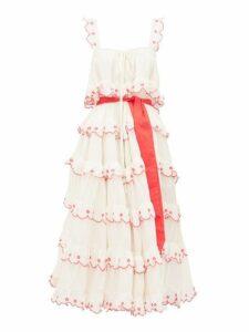 Innika Choo - Iva Biigdres Tiered Embroidered Cotton Midi Dress - Womens - Cream