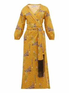 Rhode - Lena Safari Print Cotton Voile Midi Wrap Dress - Womens - Yellow Multi