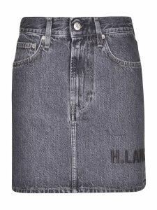 Helmut Lang Denim Embroidered Skirt
