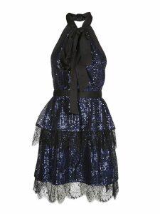 self-portrait Tiered Check Sequin Dress