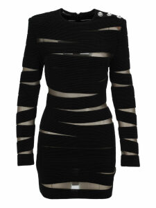 Balmain Knit Dress With Sheer Panels