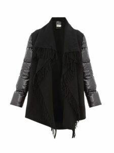 Moncler - Cloak Fringed Wool And Quilted Shell Coat - Womens - Black