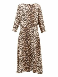La Prestic Ouiston - Despres Leopard Print Silk Satin Dress - Womens - Animal