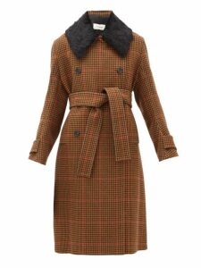 Wales Bonner - Double Breasted Houndstooth Wool Blend Coat - Womens - Brown Multi
