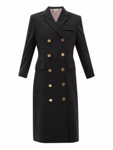 Thom Browne - Double Breasted Tricolour Trim Cashmere Coat - Womens - Navy