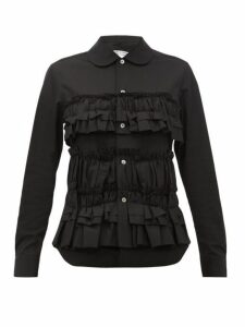 Comme Des Garçons Comme Des Garçons - Ruffle Trim Cotton Poplin Shirt - Womens - Black