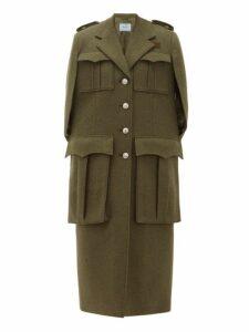 Prada - Long Single Breasted Wool Cape - Womens - Dark Green