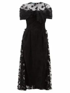 Prada - Floral Appliqué Ruched Mesh Dress - Womens - Black
