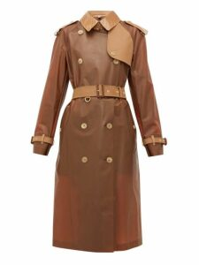 Burberry - Leather-trimmed Pu Trench - Womens - Light Brown