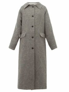 Kassl Editions - Raglan Sleeve Wool And Cotton Blend Coat - Womens - Grey