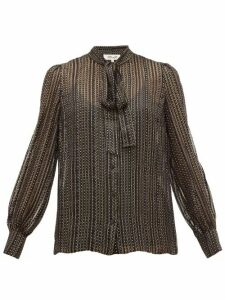 Diane Von Furstenberg - Lanie Metallic Silk Blend Georgette Blouse - Womens - Black Gold