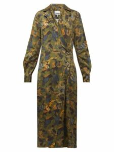 Ganni - Camouflage Print Satin Wrap Dress - Womens - Khaki