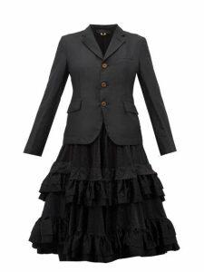 Comme Des Garçons Comme Des Garçons - Tiered Ruffle Skirt Twill Blazer - Womens - Black