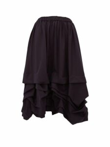 Comme Des Garçons Girl - Ruched Drawstring Waist Wool Midi Skirt - Womens - Navy