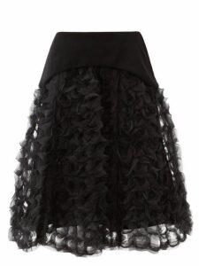 Noir Kei Ninomiya - Ring Weave Organza Midi Skirt - Womens - Black