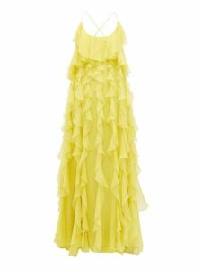 Valentino - Ruffled Open Back Silk Chiffon Gown - Womens - Yellow