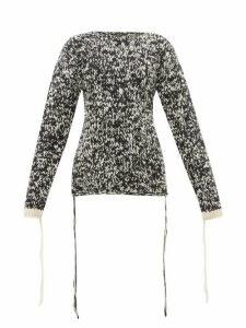 Joseph - Mouliné Knit Loose Thread Wool Sweater - Womens - Black White