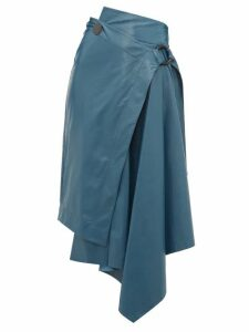 Petar Petrov - Raisa High Rise Leather Skirt - Womens - Blue