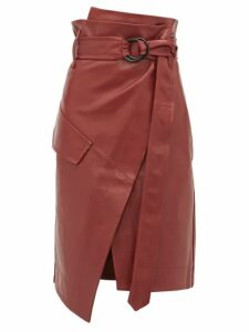 Petar Petrov - Rita High Rise Leather Skirt - Womens - Burgundy