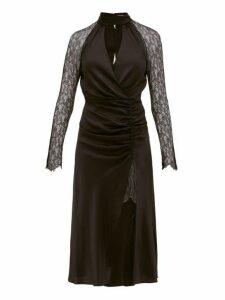 Jonathan Simkhai - Lace Sleeve Ruched Front Silk Blend Dress - Womens - Black