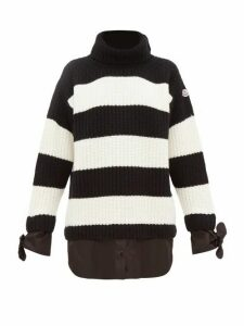 Moncler - Layered Effect Roll Neck Virgin Wool Sweater - Womens - Black White