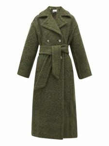 Ganni - Belted Double-breasted Wool-blend Coat - Womens - Khaki